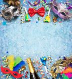 Colorful Carnival Background With Streamer Party Confetti stock images