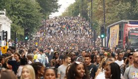 Colorful carnival celebration at the 2018 Notting Hill Carnival in London. stock photo