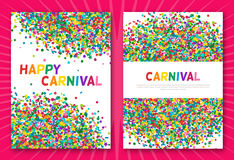 Colorful carnival confetti greeting cards Royalty Free Stock Photography