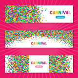 Colorful carnival confetti horizontal banners Royalty Free Stock Photos