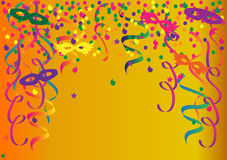 Colorful Carnival. Carnival festive background with ribbons and masks Royalty Free Stock Photos