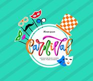 Colorful carnival hand calligraphy lettering inscription on blue striped background.vector illustration royalty free illustration