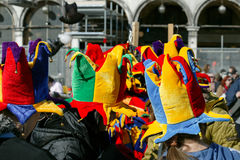 Colorful Carnival Hats Street Scenery Stock Images