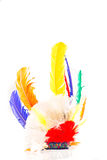 Colorful carnival Indian feathers. On white background stock photos