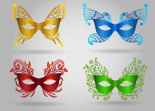 Colorful Carnival Mask Set. Carnival colorful mask set .Masquerade Party accessories Vector illustration Stock Photo