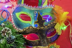 Colorful carnival masks of different shapes and sizes stock images
