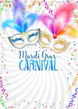 Colorful carnival masks with feathers vector Mardi Gras poster template with confetti and serpentine on white background.  vector illustration