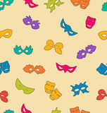 Colorful carnival masks seamless pattern. On monotone background - vector Royalty Free Stock Photos