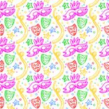 Colorful carnival pattern with doodles of masks, confetti and stars Stock Image