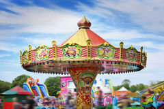Colorful carousel in attraction park. Royalty Free Stock Photography