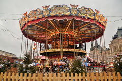 Colorful carousel at the Red Square Royalty Free Stock Image