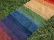 Colorful carpet. Colorful hand made carpet  as background Royalty Free Stock Photos