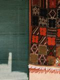 COLORFUL CARPET IN MARRAKESH royalty free stock image