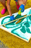 Colorful carpet on the street, religious festival Royalty Free Stock Photo