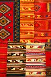 Colorful carpets hanging on the market. Mexico stock image