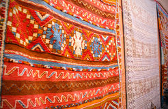 Colorful carpets in Marrakesh, Morocco Royalty Free Stock Photos