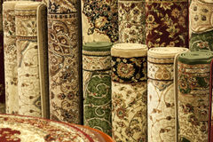 Colorful carpets in the shop Stock Photo