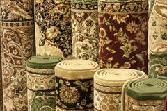 Colorful carpets in the shop Royalty Free Stock Photography