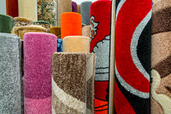 Colorful Carpets In The Store Stock Photos