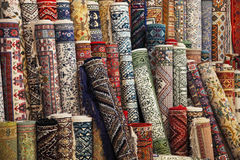 Colorful carpets in the store Royalty Free Stock Images