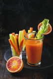 Colorful carrots and juice Royalty Free Stock Photography