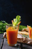 Colorful carrots and juice Royalty Free Stock Photos