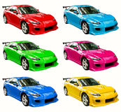 Colorful cars. Six colorized sports cars isolated against a white background Stock Photography