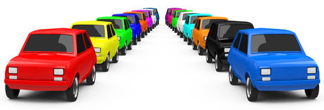 The colorful cars Stock Photos