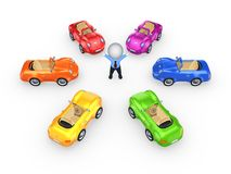 Colorful cars around 3d small person. Royalty Free Stock Photo