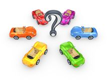 Colorful cars around query mark. Stock Photos