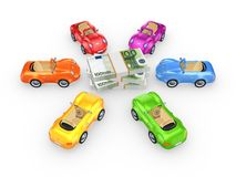 Colorful cars around stack of euro. Stock Photography