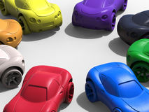 Colorful cars in a circle array. 3D render illustration of multiple cars colorful cars arranged in a circular array. The composition is on a white background royalty free illustration