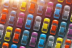 Colorful Cars Inventory Stock Image