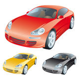 Colorful cars. The set of sport cars royalty free illustration