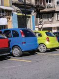 Colorful cars on the street background. Sunny day stock image