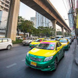 Colorful cars taxi in Bangkok Stock Images