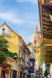 Colorful Cartagena Cathedral stock photo