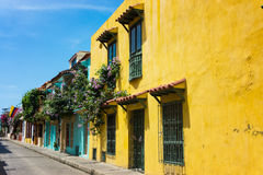 Colorful Cartagena Street stock image