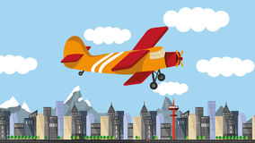 Colorful cartoon airplane stock video