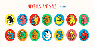 Colorful cartoon baby animals. Vector icons Stock Images