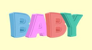 Colorful cartoon BABY text on white  background Royalty Free Stock Photography