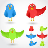 Colorful cartoon birds collection. Stock Images