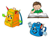 Colorful cartoon boy with book Royalty Free Stock Image