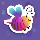 Colorful cartoon bright little bee. Smile and happy insect for kids books. Bug sticker stock illustration