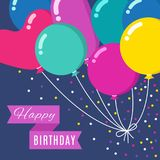 Colorful cartoon bunch of balloons flying in sky with happy birthday banner. Vector invitation card. Poster with colored balloon for party event illustration Royalty Free Stock Image