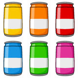 Colorful Cartoon Cans Collection Royalty Free Stock Photos
