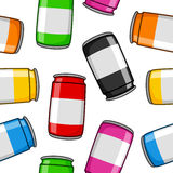 Colorful Cartoon Cans Seamless Pattern Stock Images