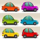 Colorful cartoon cars vector stock illustration