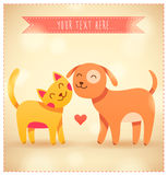 Colorful Cartoon Cat And Dog With Heart. Vector Il Royalty Free Stock Photos