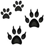Colorful cartoon cat dog paw footprint icon set poster. Pet themed  illustration for gift card, flyer, certificate or banner, icon, logo, patch, sticker Royalty Free Stock Photo